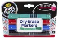 Crayola Take Note Chisel Tip Dry Erase Markers, Kids at Home Activities, Broad Line, Multicolor, 4 Count