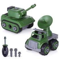 iPlay, iLearn Military Vehicles Sets, Take Apart Army Toy Tank & Radar Cars, Assemble Truck W/ Screwdriver, STEM Building Your Own Playset, Learning Gift for 3 4 5 6 Year Olds, Boys Kids Toddlers Girl