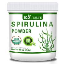 USDA Organic Spirulina Powder,100% Pure,8.8oz(250g),Supplies Antioxidants, Vitamin, Esential Amino Acids, Minerals, Gluten Free, Non-GMO