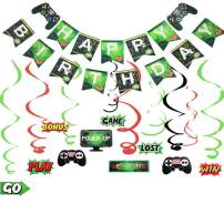 LaVenty Set of 2 GAME ON Banner Video Game Party Banner Supplies set Gaming Party Decoration Baby Boys Birthday Party Banners and Balloons for Game Theme Party