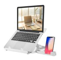 Laptop Stand Adjustable Laptop Stand Multi-Angle Swivel Stand And Mobile Phone Pad Stand Portable Foldable Laptop Lifting Plate Cooling And Non-Slip Laptop Stand Suitable For 10 To 15.6 Inch Laptops