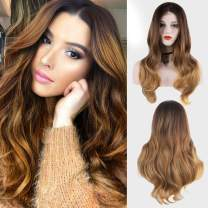 Ombre Blonde Wig for Women Long Wavy Lace Wig 26 Inches with Brown Roots Heat Synthetic Wig Daily Use Halloween Bob Wig Silky Lace Wig (OT6/27(NYL2330))