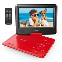 """Portable DVD Player 11.5'' with 5 Hours Rechargeable Battery by SPACEKEY, 9"""" Swivel Screen, Support USB/SD Slot and 1.8 Meter Car Charger, Support Memory and Region Free (Red)"""