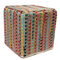 RUGSVILLE Square Pouf Cube Ottoman - Pitloom Cotton Chindi Woven Footrest Stool Contemporary Rustic Decor Countryside Pouffe Ottomans - Multicolor - D-16 x H-16 Inches
