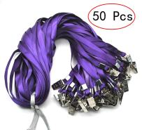 Lanldc 34-inch Bulk Lanyard Blue Lanyards for Id Badges Nylon Neck Flat Lanyard with Badge Clip for Office ID Name Tags and Badge Holders (50Pcs, Purple)