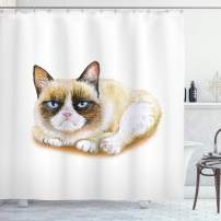 """Ambesonne Animal Shower Curtain, Grumpy Siamese Cat Angry Paws Kitten Moody Feline Fluffy Love Art Print, Cloth Fabric Bathroom Decor Set with Hooks, 75"""" Long, Brown and Beige"""