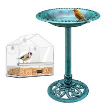 VIVOHOME Lightweight Polyresin Bird Bath and Squirrel Proof Clear Acrylic Window Bird Feeder Combo
