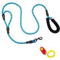LUFFWELL Double Handles Dog Leash, 6 FT Long Reflective Lead with Comfortable Traffic Padded for Control Safety Training, Heavy Duty Thick Nylon Rope with Strong Clip for Small Medium or Large Dogs
