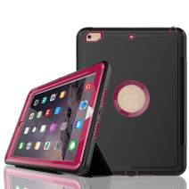 iPad 6th/5th Generation Case,iPad 9.7 Case 2018/2017,Model(A1893/A1954/A1822/A1823),with Free Screen Protector,Three Layer Heavy Duty Shockproof Protective Stand Case(Plum)