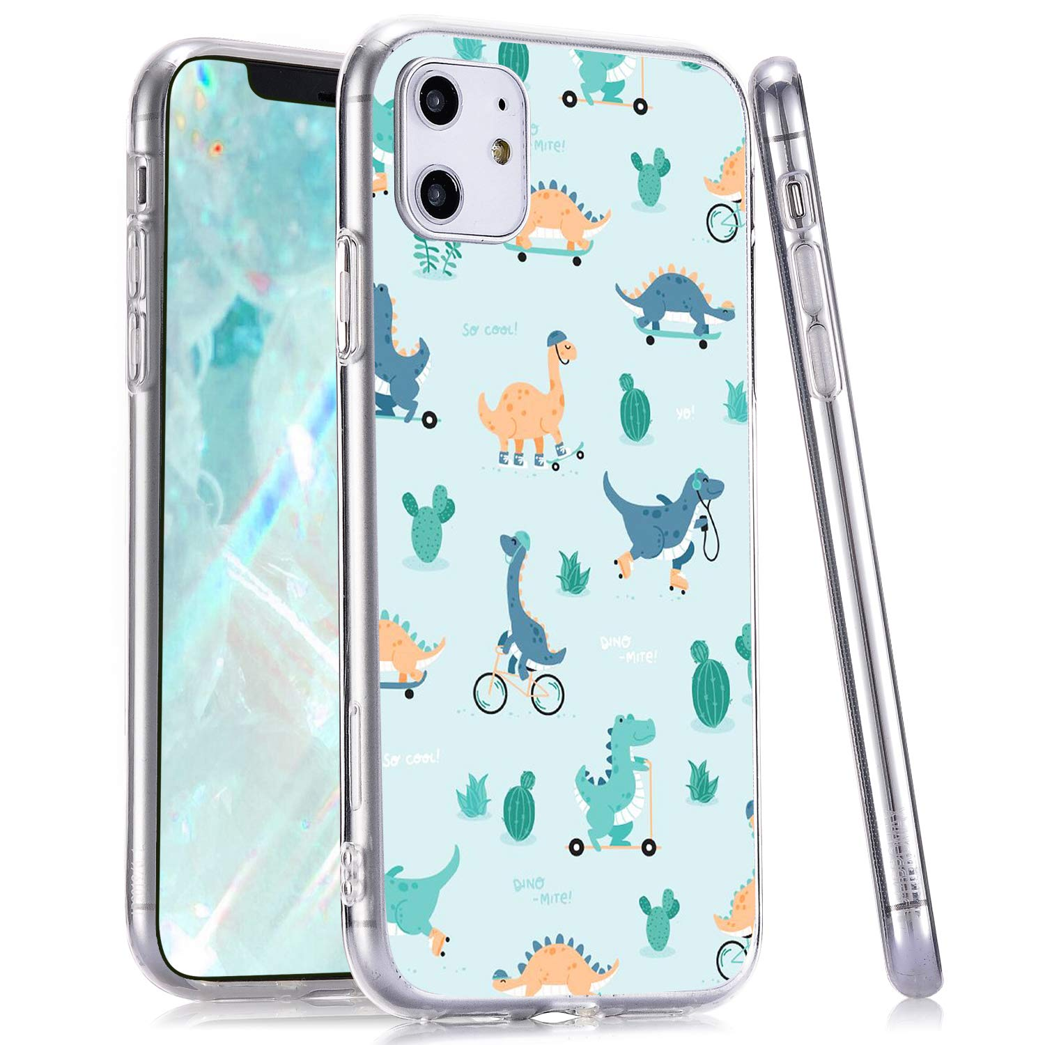 LuGeKe Dinosaur Phone Case for iPhone11,Cartoon Patterned Dino Design Case Cover,Soft TPU Cover Flexible Ultra Slim Anti-Stratch Bumper Protective Cute Girly Phonecase(Skating Dinosaur)