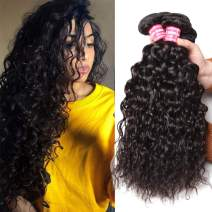 Nadula 8A Brazilian Virgin Hair Water Wave 4 Bundles Wet and Wavy 100% Unprocessed Virgin Human Hair Extensions Natural Color (12 14 16 18 Inch)