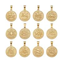 Beadthoven 12pcs/Set 304 Stainless Steel Twelve Constellation Zodiac Sign Pendant Sets Golden Flat Round Jewelry Charms for DIY Bracelets Necklaces Making Finding Supplies Personalized Accessories