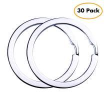 Flat Key Rings Key Chain Metal Split Ring 30pcs (Round 1.25 Inch Diameter), for Home Car Keys Organization, Lead Free Nickel Plated Silver