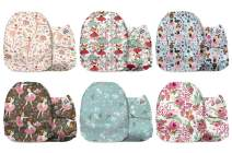 Mama Koala One Size Baby Washable Reusable Pocket Cloth Diapers, 6 Pack with 6 One Size Microfiber Inserts (Ballerina)