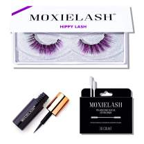 MoxieLash Hippy Kit - Mini Magnetic Liquid Eyeliner for Magnetic Eyelashes - No Glue & Mess Free - Fast & Easy Application - Set of Hippy Lashes & Makeup Removers Included