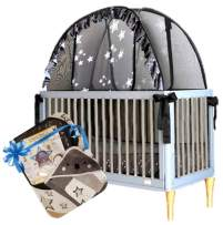 Aussie Cot Net Co - Baby Crib Safety Pop up Tent - Premium Net Cover Crib Tent to Keep Baby from Climbing Out - Koala Gift Pack - See Through Black Crib Netting - Mosquito Net Bed Canopy Cover