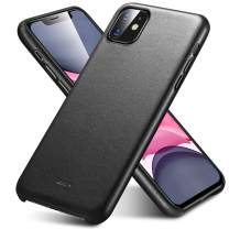 """ESR Premium Real Leather Case Compatible with iPhone 11 - Slim Full Leather Phone Case [Supports Wireless Charging] [Scratch-Resistant] Protective Case for iPhone 11 6.1"""" 2019 - Black"""