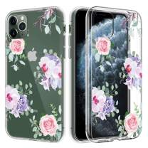 Caka Flower Case for iPhone 11 Pro Clear Flower Case Floral Pattern for Girls Women Slim Premium Clarity Soft TPU Anti Scratch Protective Flower Case for iPhone 11 Pro (5.8 inch)(Pink Purple)