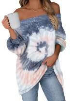Dokotoo Women's Tie Dye Printed Long Sleeve Sweatshirt Off Shoulder Casual Loose Pullover Tops Shirts