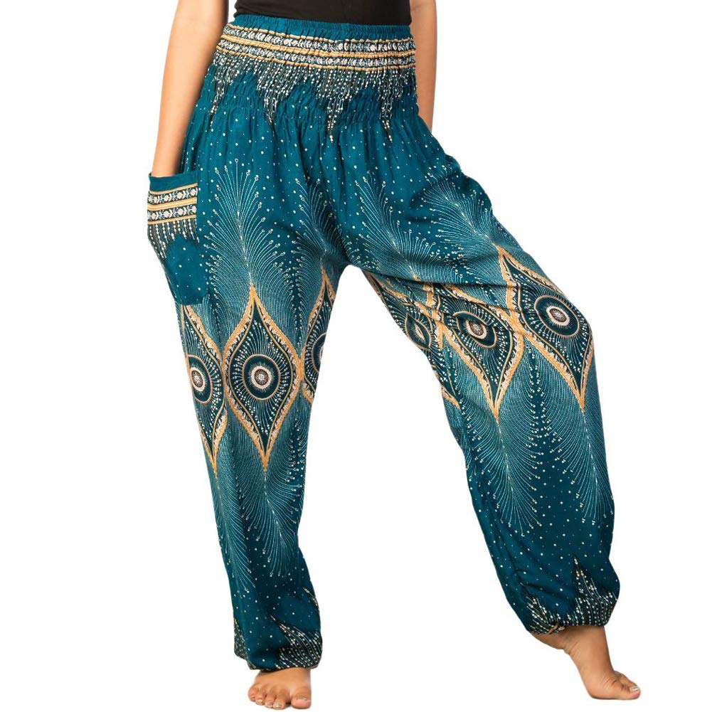 LOFBAZ Harem Yoga Pants for Women S-4XL Hippie Boho PJs Lounge Beach Print Plus