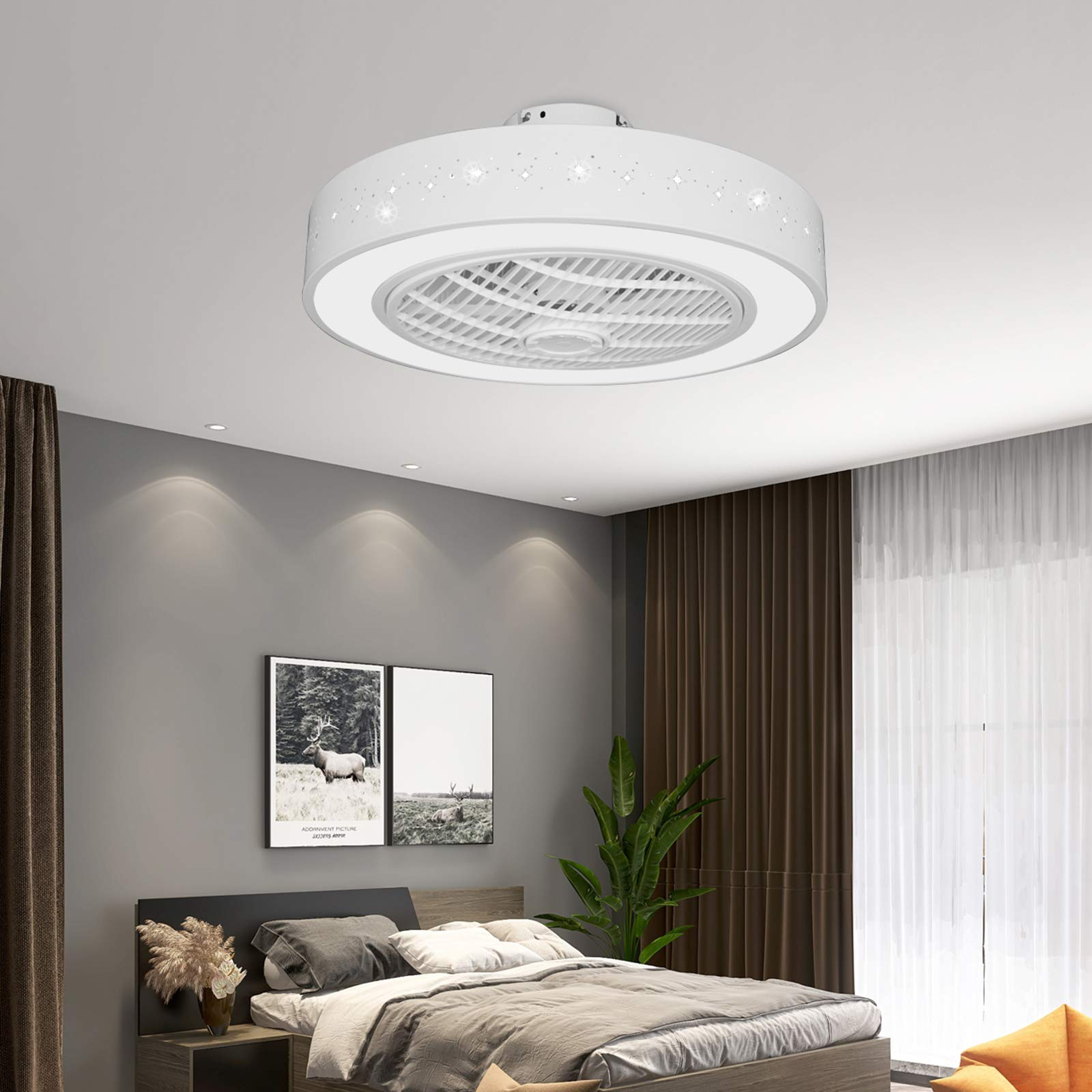 """TFCFL Invisible Ceiling Fan with Light, 22"""" Round Semi Flush Mount Low Profile Fan Chandelier with Remote Control 3 Colors 3 Speeds Acrylic Openwork Carving Hidden Blades for Bedroom (White)"""