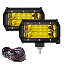 Samlight Yellow Led Light Bar 2 PCS Flood Beam Off Road Lights 72W Led Driving Lights With Wiring Harness 10ft 2 Lead Waterproof 5 Inch Led Fog Lights for Trucks Jeep ATV UTV Boat 4X4 Tractors