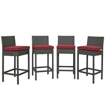 Modway EEI-2196-CHC-RED-SET Sojourn Wicker Rattan Outdoor Patio Sunbrella, Four Bar Stools, Canvas Red