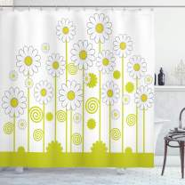 """Ambesonne Floral Shower Curtain, Daisy Flowers in a Sunny Day with Leaves Garden Cartoon Swirl Details Image, Cloth Fabric Bathroom Decor Set with Hooks, 70"""" Long, Yellow White"""