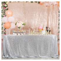 "Silver Sequin Table Cloth 90""x156"" Rectangle Shiny Table Cover Shimmer Table Decor for Halloween Shower Party"