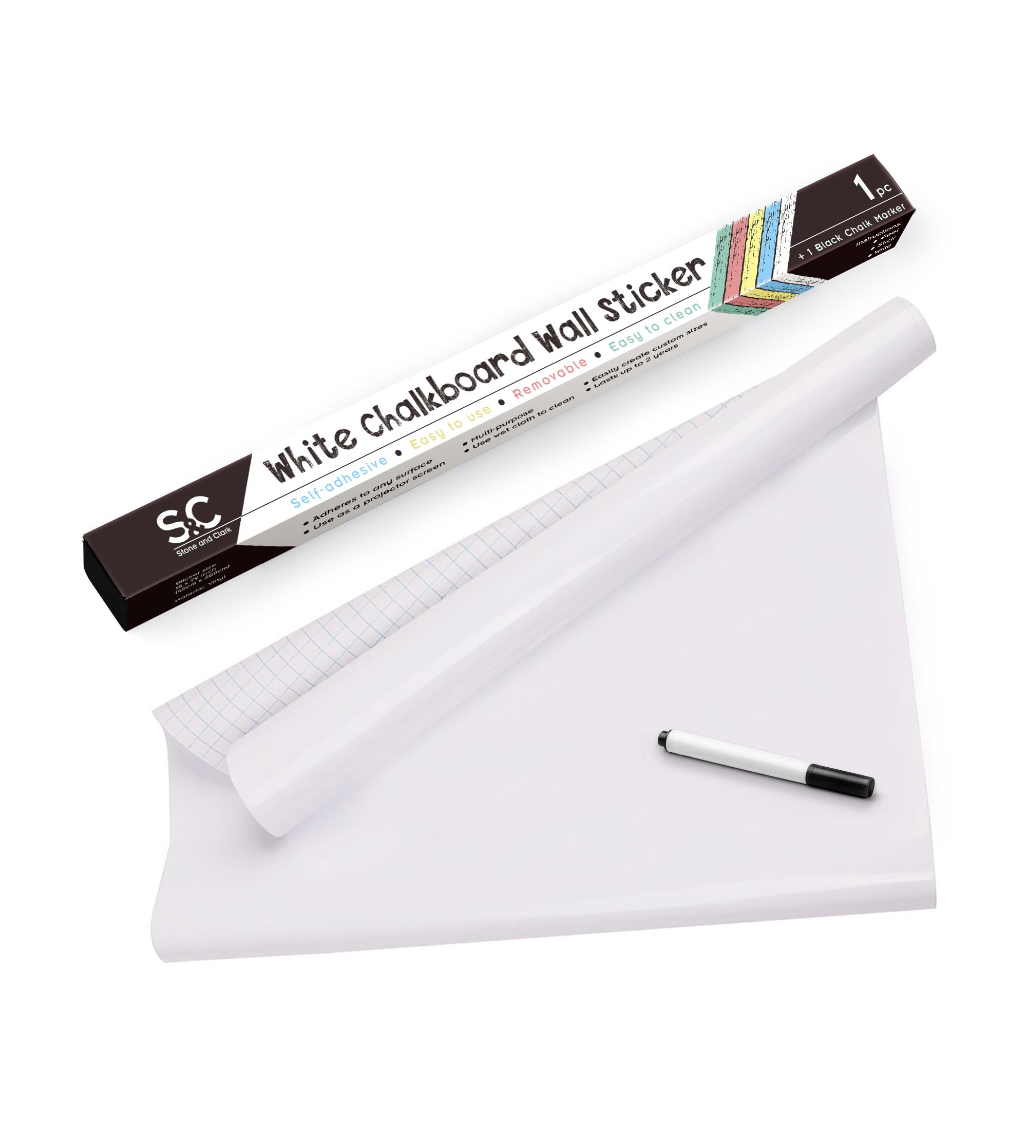 Stone and Clark White Self-Adhesive Dry Erase Paper/Whiteboard Sticker. Large Size 1.5' x 6'. Includes a Black Marker Pen