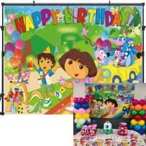 Allenjoy 7x5ft Dora Backdrop Birthday Party Backdrop for Photography Dora Explorer Backdrop Decorations for Party Dora Party Banner Photo Background