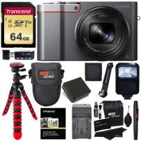 Panasonic DMC-ZS100S LUMIX 4K Digital Camera with 20 Megapixel Sensor, WiFi Silver + 64GB Memory Card + Battery, Charger + Flash + Tripod + Case + Ritz Gear Cleaning Kit + Accessory Bundle
