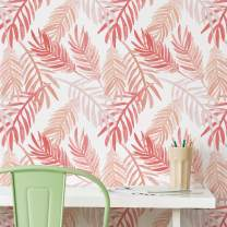 Flipside Pink and Peach Palm Leaves Removable Pre-Pasted Wallpaper - Each Roll is 18 ft. Long x 18 in. Wide - Safe for Walls - Easy to Apply & Extremely Easy to Remove