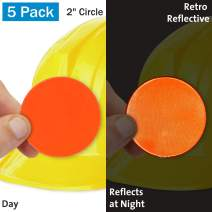 "SmartSign Fluorescent Orange Retro-Reflective Hard Hat Label | 2"" Circle, Pack of 10"