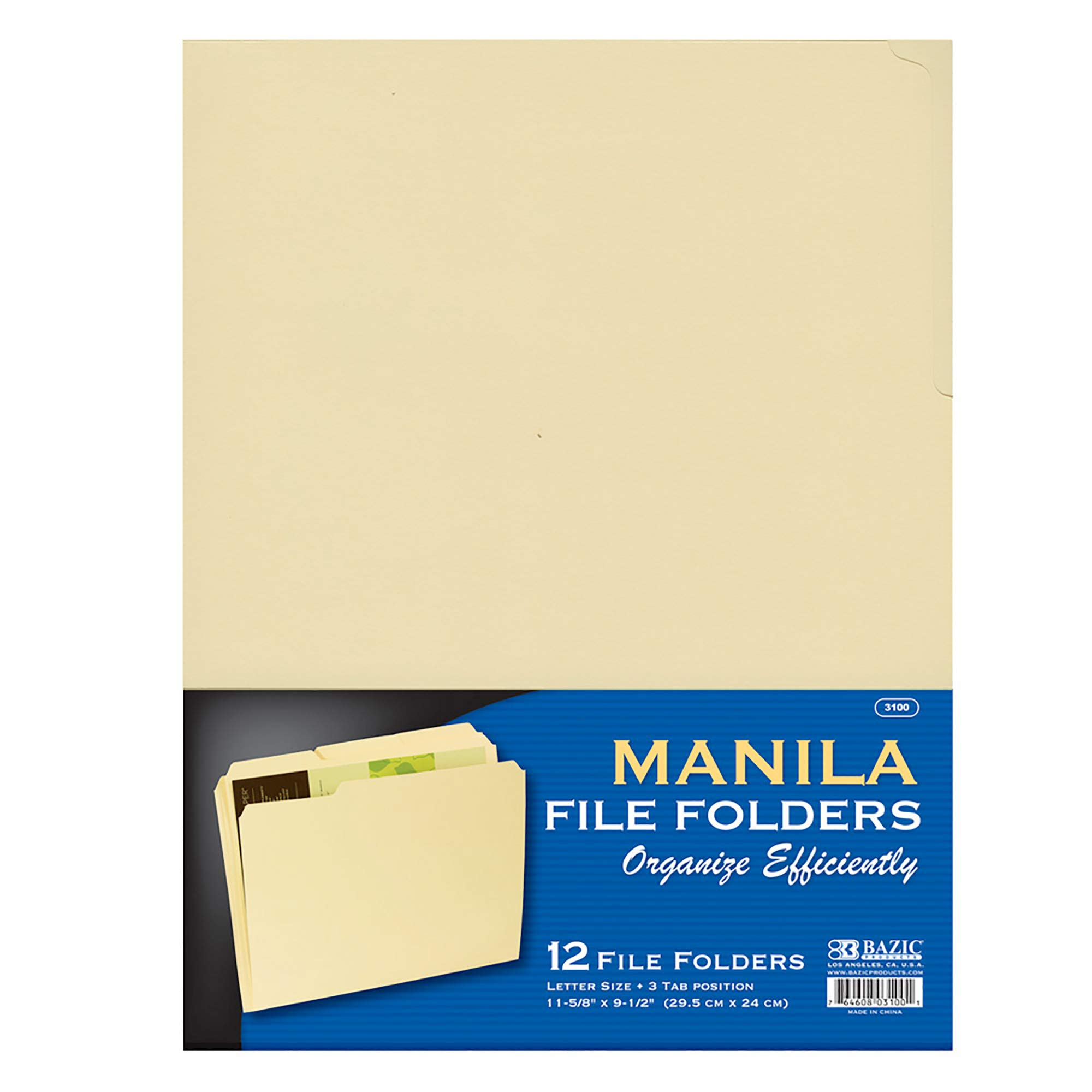 BAZIC 1/3 Cut Letter Size Manila File Folder, Classic Manila Tabs Left Right Center Positions, Great for Organizing Easy Files Document Storage, Office Home Teacher Business (12/Pack), 1-Pack