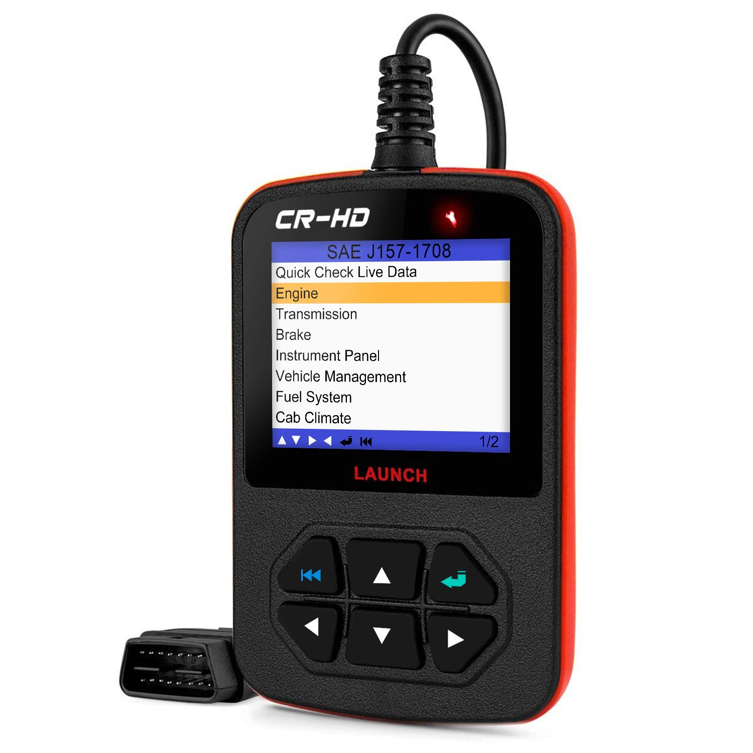 LAUNCH CReader HD Plus Heavy Duty Truck Obd2 Diagnostic Reader OBDII Scan Tool CRHD Truck Code Scanner with OBD-II Communication Modes 1-10 and J1587, J1708 and J1939 protocols