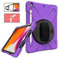 iPad 7th Generation Case 10.2 with Stand,TSQ Full Body High Impact Resistant Kidsproof Drop Protection Rubber Case with Pencil Holder/Hand Grip Strap/Shoulder Strap for iPad 10.2 Inch 2019,Purple