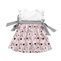 YOUNGER TREE Toddler Kids Baby Girl Easter Clothes Ruffle Sleeveless Dress Bunny Print Cute Girl Dress Outfits