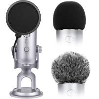 Microphone Cover for Blue Yeti Foam Cover Pop Filter for Blue Yeti, 3 In 1 Mic Furry Windscreen Microphone Foam Cover Pop Filter for Blue Yeti and Yeti Pro Condenser by ChromLives, Combo 3Pack
