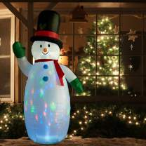 SUPERJARE 8 Ft Christmas Inflatable Snowman, Flashing Lights Christmas Decoration, Airblown Snowman with Fan and Anchor Ropes, Animated for Yard Party Lawn, Indoor & Outdoor