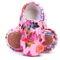 HONGTEYA Baby Moccasins with Rubber Sole&Soft Sole - Flower Print PU Leather Tassel Bow Girls Ballet Dress Shoes for Toddler
