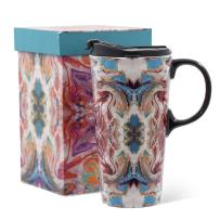 17oz Tall Ceramic Travel Mug with Sealed Lid Coffee Cup, Colouration