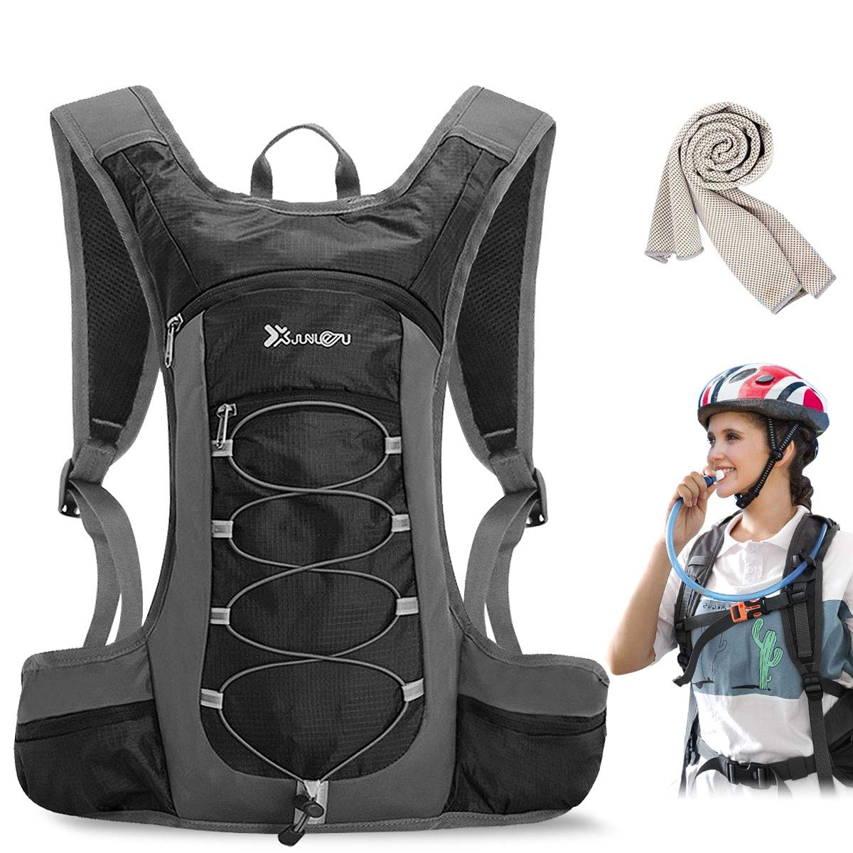 GOLOLBA Hydration Pack,Insulated Hydration Backpack with 2L BPA Free Water Bladder and Storage for Backpacking, Hiking, Running, Cycling, and Climbing with Towel.