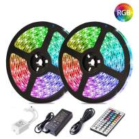 LED Strip Lights, Attuosun 32.8ft/10M RGB 300Leds SMD5050 Waterproof Flexible Rope Lights, Color Changing Self-Adhesive Led Strips Kit with 44Key IR Remote Controller and 12V Power Supply for Home