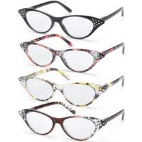 SODQW 4 Pairs Fashion Cateye Reading Glasses, Comfort Spring Hinges Readers for Women (4 Pack Mix, 1.5X)