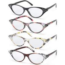 SODQW 4 Pairs Fashion Cateye Reading Glasses, Comfort Spring Hinges Readers for Women (4 Pack Mix, 2.0X)