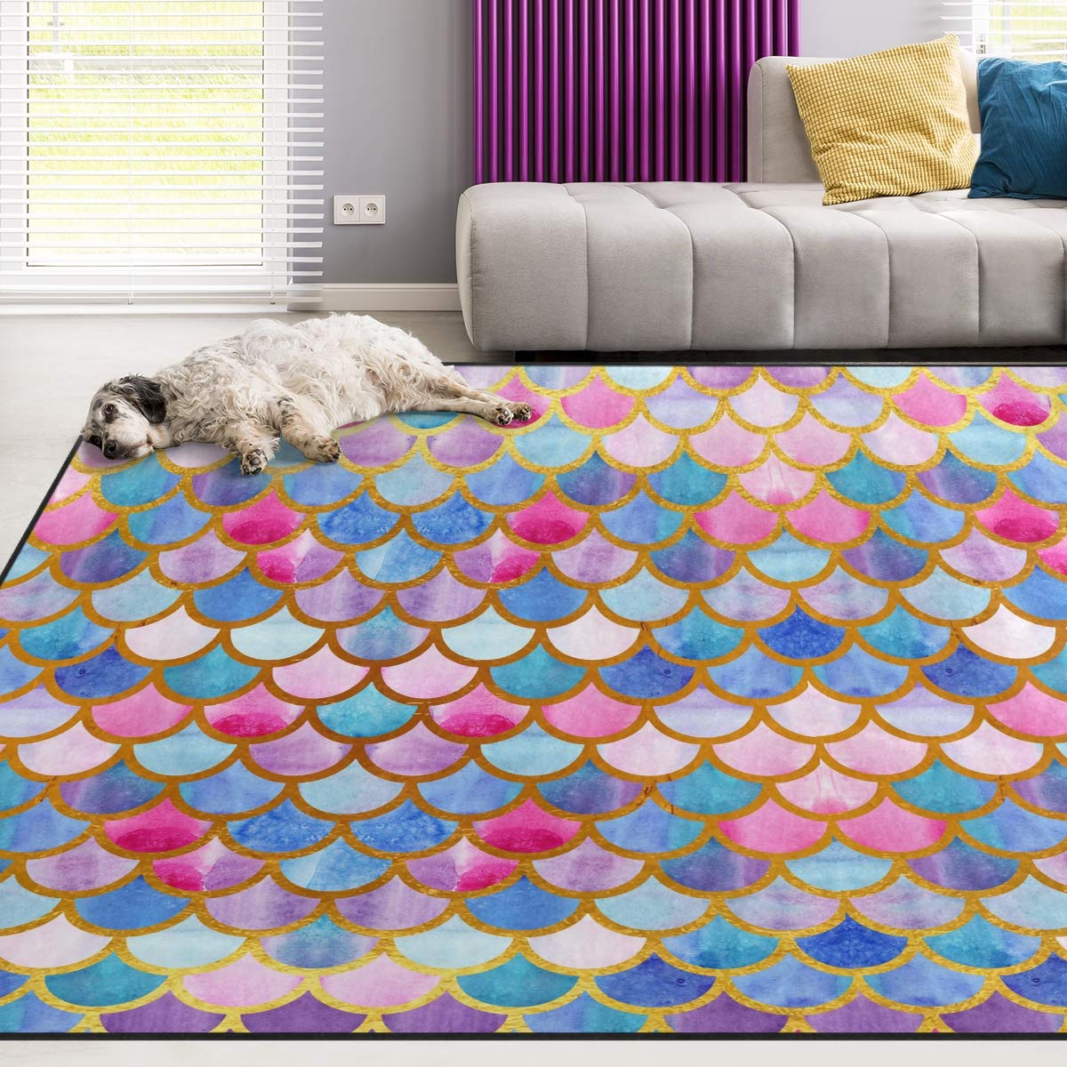 Naanle Watercolor Rainbow Mermaid Scale Non Slip Area Rug for Living Dinning Room Bedroom Kitchen, 1.7 'x 2.6'(20 x 31 inches), Colorful Abstract Nursery Rug Floor Carpet Yoga Mat