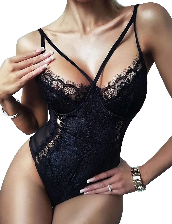 Lace Bodysuit for Women Black White Bodysuit Sexy Lingerie for Womens Eyelash Naugthy Teddy Lingerie