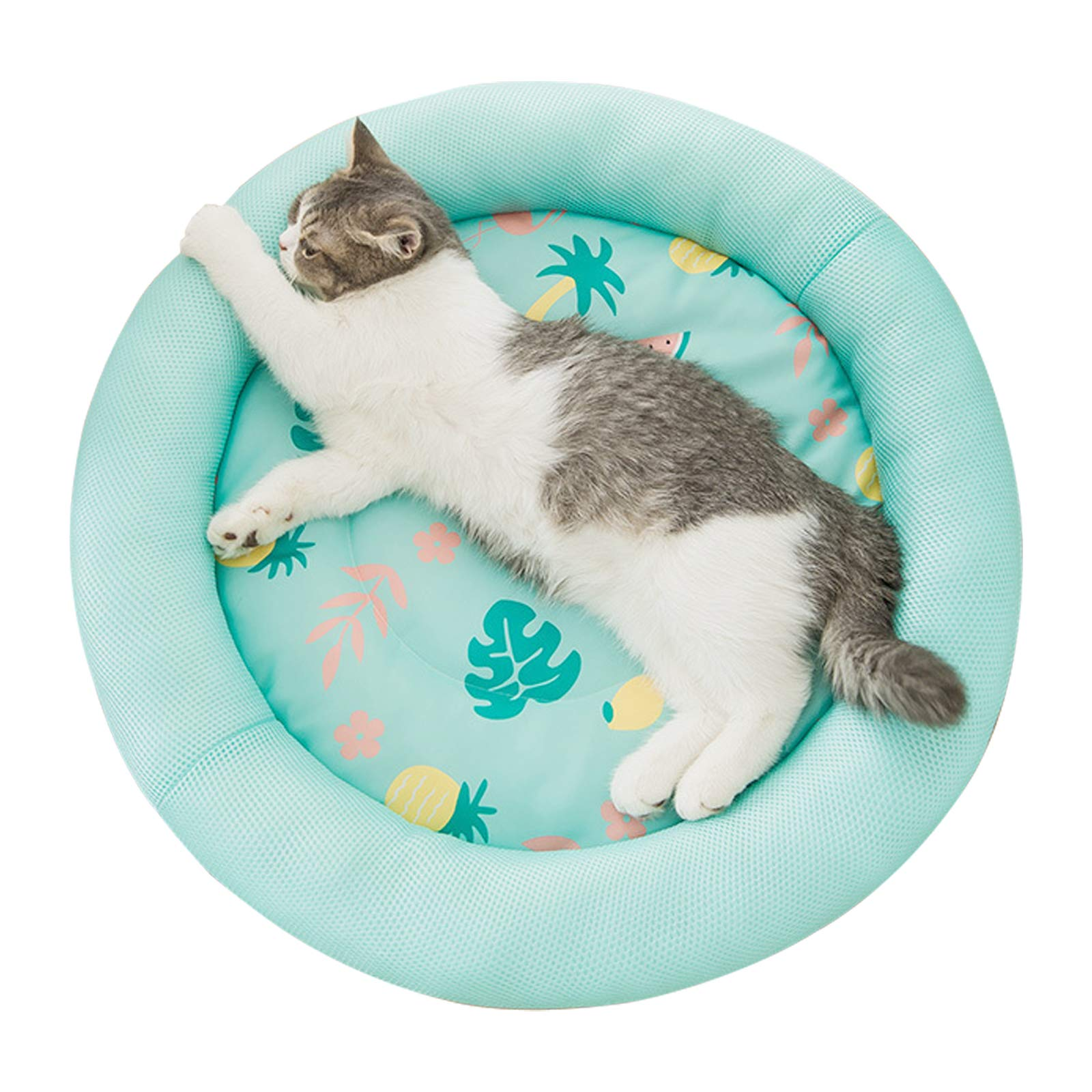 """ROZKITCH Cooling Dog Bed, Soft Summer Ice Pet Pad Cushion for Small Dog Sleeping, Round Breathable Mat with Waterproof Cover and Bottom, Non-Slip Back Washable Green 15.7""""/19.6""""/23.6"""" Dia."""