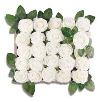 Meiliy 40pcs Artificial Flowers Peony Ivory Rose Heads Real Looking Foam Peonies Bulk w/Stem for DIY Wedding Bouquets Boutonnieres Corsages Centerpieces Wreath Supplies Cake Flower Decorations
